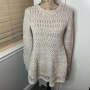 Anthropologie Katsumi Lace Bottom Flare Sweater